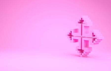 Pink Pixel arrows in four directions icon isolated on pink background. Cursor move sign. Minimalism concept. 3d illustration 3D render