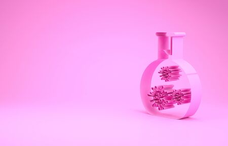 Pink Laboratory glass test tube with virus and bacteria icon isolated on pink background. Analysis microorganism, research, diagnosis. Minimalism concept. 3d illustration 3D render Фото со стока