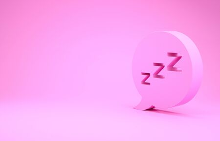 Pink Speech bubble with snoring icon isolated on pink background. Concept of sleeping, insomnia, alarm clock app, deep sleep, awakening. Minimalism concept. 3d illustration 3D render Banco de Imagens