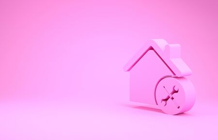 Pink House or home with screwdriver and wrench icon isolated on pink background. Adjusting, service, setting, maintenance, repair, fixing. Minimalism concept. 3d illustration 3D render