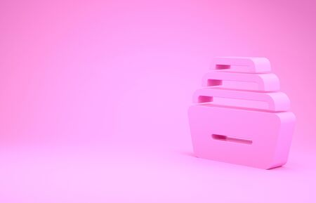 Pink Drawer with documents icon isolated on pink background. Archive papers drawer. File Cabinet Drawer. Office furniture. Minimalism concept. 3d illustration 3D render