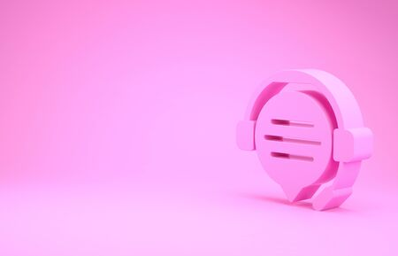 Pink Headphones with speech bubble chat icon isolated on pink background. Support customer service, hotline, call center, faq, maintenance. Minimalism concept. 3d illustration 3D render