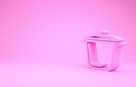 Pink Cooking pot icon isolated on pink background. Boil or stew food symbol. Minimalism concept. 3d illustration 3D render