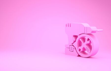 Pink Drill machine with screwdriver and wrench icon isolated on pink background. Adjusting, service, setting, maintenance, repair, fixing. Minimalism concept. 3d illustration 3D render Stok Fotoğraf