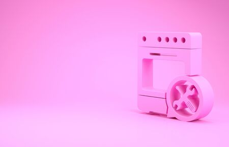Pink Oven with screwdriver and wrench icon isolated on pink background. Adjusting, service, setting, maintenance, repair, fixing. Minimalism concept. 3d illustration 3D render 스톡 콘텐츠