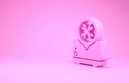 Pink Toaster with screwdriver and wrench icon isolated on pink background. Adjusting, service, setting, maintenance, repair, fixing. Minimalism concept. 3d illustration 3D render