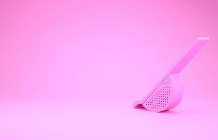 Pink Kitchen colander icon isolated on pink background. Cooking utensil. Cutlery sign. Minimalism concept. 3d illustration 3D render Reklamní fotografie - 132102456