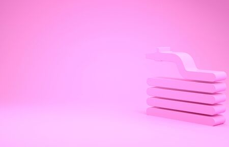 Pink Garden hose or fire hose icon isolated on pink background. Spray gun icon. Watering equipment. Minimalism concept. 3d illustration 3D render 写真素材