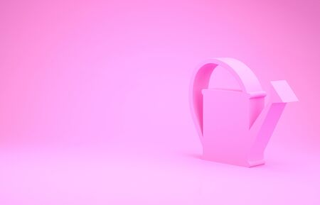 Pink Watering can icon isolated on pink background. Irrigation symbol. Minimalism concept. 3d illustration 3D render