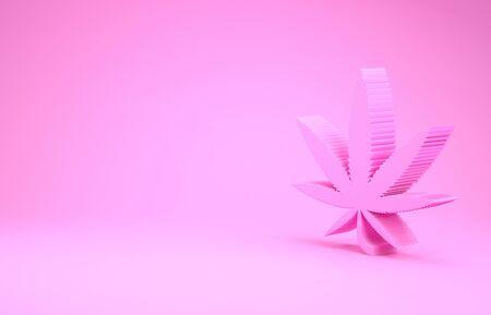 Pink Medical marijuana or cannabis leaf icon isolated on pink background. Hemp symbol. Minimalism concept. 3d illustration 3D render Stock Illustration - 131997830