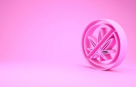 Pink Stop marijuana or cannabis leaf icon isolated on pink background. No smoking marijuana. Hemp symbol. Minimalism concept. 3d illustration 3D render