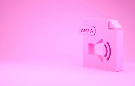 Pink WMA file document. Download wma button icon isolated on pink background. WMA file symbol. Wma music format sign. Minimalism concept. 3d illustration 3D render