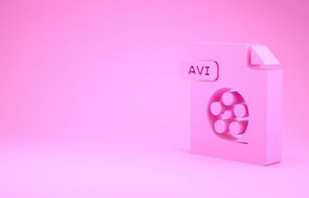 Pink AVI file document. Download avi button icon isolated on pink background. AVI file symbol. Minimalism concept. 3d illustration 3D render