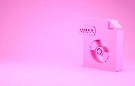 Pink WMA file document. Download wma button icon isolated on pink background. WMA file symbol. Wma music format sign. Minimalism concept. 3d illustration 3D render Stok Fotoğraf - 131998150