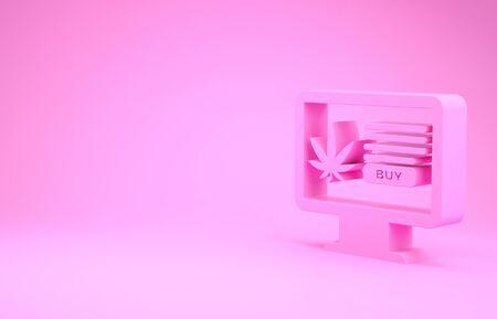 Pink Computer monitor and medical marijuana or cannabis leaf icon isolated on pink background. Online buying symbol. Supermarket basket. Minimalism concept. 3d illustration 3D render Banco de Imagens