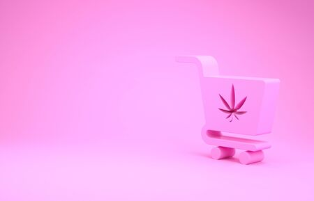 Pink Shopping cart with marijuana or cannabis leaf icon isolated on pink background. Online buying. Delivery service. Supermarket basket. Minimalism concept. 3d illustration 3D render