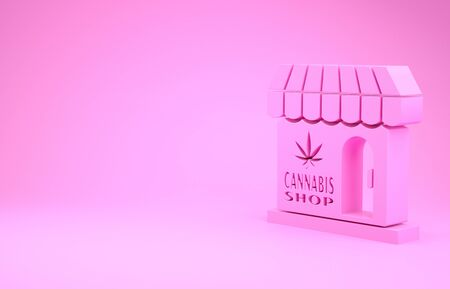 Pink Marijuana and cannabis store icon isolated on pink background. Equipment and accessories for smoking, storing medical cannabis. Minimalism concept. 3d illustration 3D render