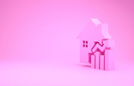 Pink Rising cost of housing icon isolated on pink background. Rising price of real estate. Residential graph increases. Minimalism concept. 3d illustration 3D render Stock Photo