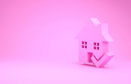 Pink House with check mark icon isolated on pink background. Real estate agency or cottage town elite class. Minimalism concept. 3d illustration 3D render Stock Illustration - 132105946