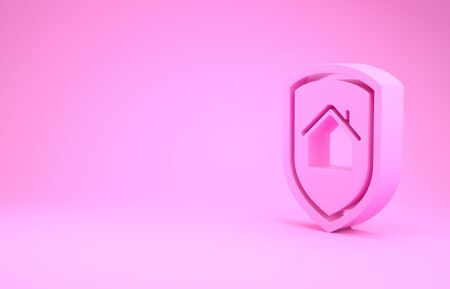 Pink House under protection icon isolated on pink background. Home and shield. Protection, safety, security, protect, defense concept. Minimalism concept. 3d illustration 3D render Stock Illustration - 132105948