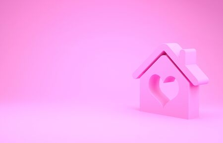 Pink House with heart shape icon isolated on pink background. Love home symbol. Family, real estate and realty. Minimalism concept. 3d illustration 3D render Foto de archivo - 132105950