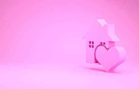 Pink House with heart shape icon isolated on pink background. Love home symbol. Family, real estate and realty. Minimalism concept. 3d illustration 3D render Stock Illustration - 132105952