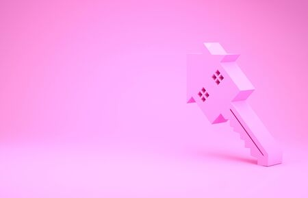 Pink House with key icon isolated on pink background. The concept of the house turnkey. Minimalism concept. 3d illustration 3D render