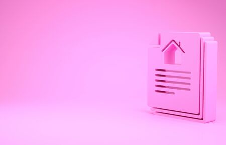 Pink House contract icon isolated on pink background. Contract creation service, document formation, application form composition. Minimalism concept. 3d illustration 3D render Banco de Imagens
