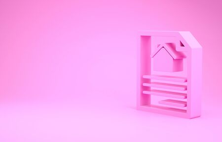 Pink House contract icon isolated on pink background. Contract creation service, document formation, application form composition. Minimalism concept. 3d illustration 3D render Stok Fotoğraf - 131997577
