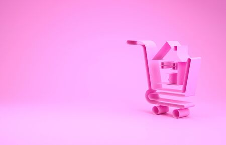 Pink Shopping cart with house icon isolated on pink background. Buy house concept. Home loan concept, rent, buying a property. Minimalism concept. 3d illustration 3D render Banco de Imagens