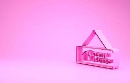 Pink Hanging sign with text Open house icon isolated on pink background. Signboard with text Open house. Minimalism concept. 3d illustration 3D render Banco de Imagens