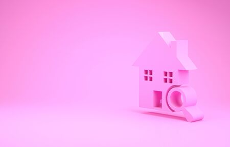 Pink Search house icon isolated on pink background. Real estate symbol of a house under magnifying glass. Minimalism concept. 3d illustration 3D render Stok Fotoğraf - 131997150