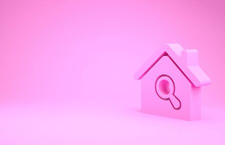 Pink Search house icon isolated on pink background. Real estate symbol of a house under magnifying glass. Minimalism concept. 3d illustration 3D render Stok Fotoğraf - 131997350