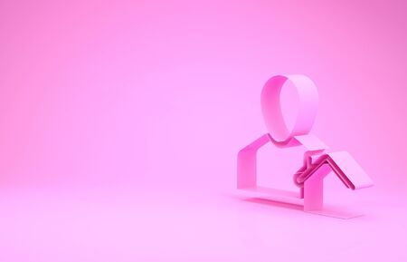 Pink Realtor icon isolated on pink background. Buying house. Minimalism concept. 3d illustration 3D render