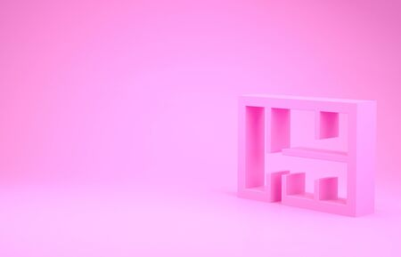 Pink House plan icon isolated on pink background. Minimalism concept. 3d illustration 3D render