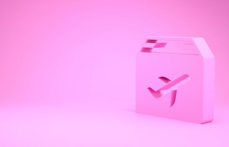 Pink Plane and cardboard box icon isolated on pink background. Delivery, transportation. Cargo delivery by air. Airplane with parcels, boxes. Minimalism concept. 3d illustration 3D render