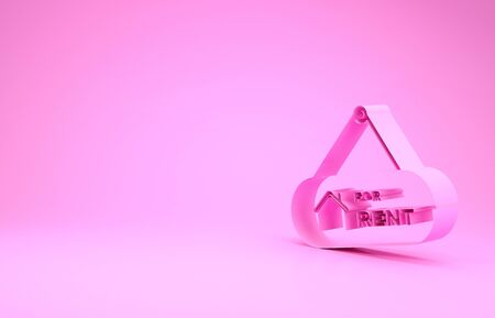 Pink Hanging sign with text For Rent icon isolated on pink background. Signboard with text For Rent. Minimalism concept. 3d illustration 3D render Banco de Imagens