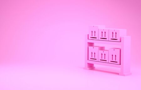 Pink Warehouse icon isolated on pink background. Minimalism concept. 3d illustration 3D render Zdjęcie Seryjne