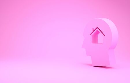 Pink Man dreaming about buying a new house icon isolated on pink background. Minimalism concept. 3d illustration 3D render Banco de Imagens