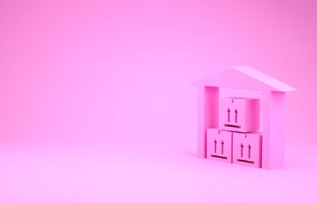 Pink Warehouse icon isolated on pink background. Minimalism concept. 3d illustration 3D render Stock Photo