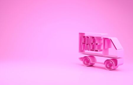 Pink Free delivery service icon isolated on pink background. Free shipping. 24 hour and fast delivery. Minimalism concept. 3d illustration 3D render