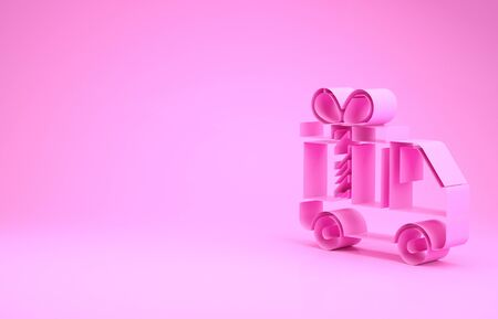 Pink Delivery truck with gift icon isolated on pink background. Minimalism concept. 3d illustration 3D render Stock Illustration - 131999660
