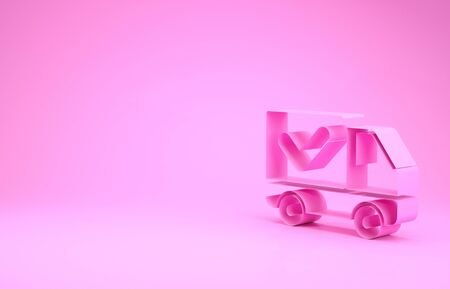 Pink Delivery truck with check mark icon isolated on pink background. Minimalism concept. 3d illustration 3D render Stock Photo