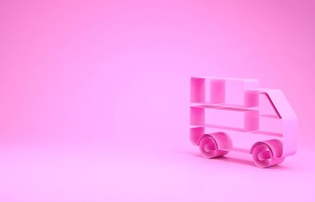 Pink Delivery truck with cardboard boxes behind icon isolated on pink background. Minimalism concept. 3d illustration 3D render