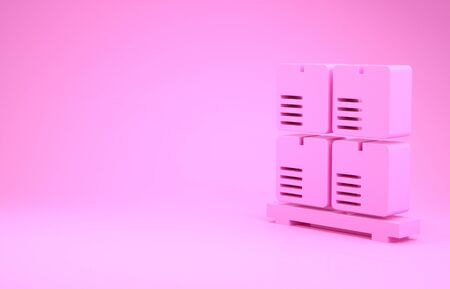 Pink Cardboard boxes on pallet icon isolated on pink background. Closed carton delivery packaging box with fragile signs. Minimalism concept. 3d illustration 3D render
