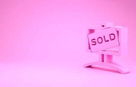 Pink Hanging sign with text Sold icon isolated on pink background. Sold sticker. Sold signboard. Minimalism concept. 3d illustration 3D render
