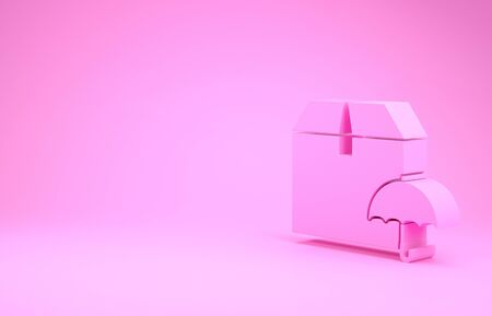 Pink Delivery package with umbrella symbol icon isolated on pink background. Parcel cardboard box with umbrella sign. Logistic and delivery. Minimalism concept. 3d illustration 3D render