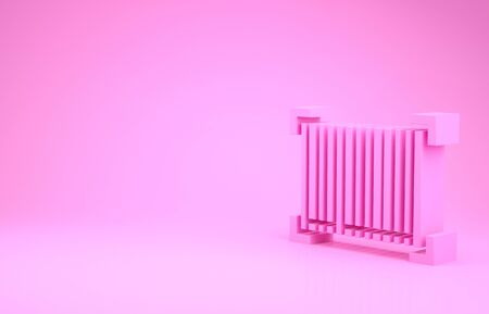 Pink Barcode icon isolated on pink background. Minimalism concept. 3d illustration 3D render
