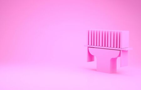Pink Scanner scanning bar code icon isolated on pink background. Barcode label sticker. Identification for delivery with bars. Minimalism concept. 3d illustration 3D render Stockfoto
