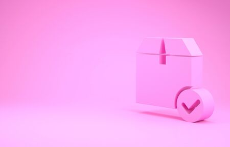 Pink Package box with check mark icon isolated on pink background. Parcel box with checkmark. Approved delivery or successful package receipt. Minimalism concept. 3d illustration 3D render Stock fotó